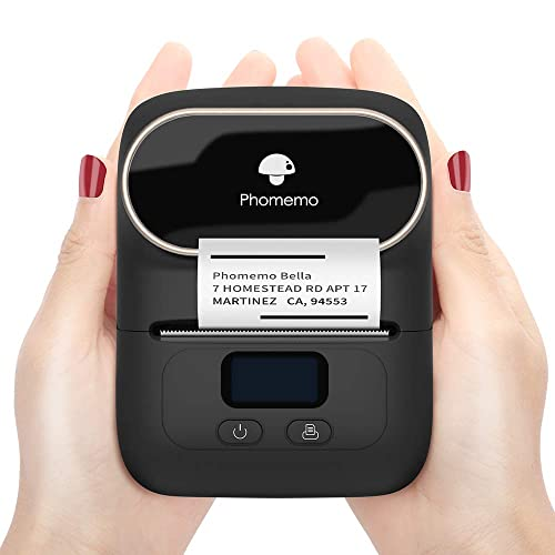 Jewelry Portable Bluetooth Thermal Label Printer for Barcode Black Business Mailing Retail Clothing Phomemo M110 Label Maker with 2 Rolls 40/×30mm Label Compatible with Android /& iOS