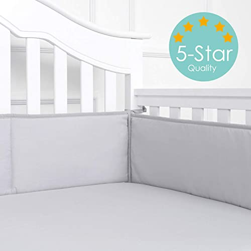 TILLYOU Baby Safe Padded Crib Liner for Standard Cribs Machine Washable Thick Padding for Nursery Bed 100/% Silky Soft Microfiber Polyester Protector de Cuna White 4 Piece