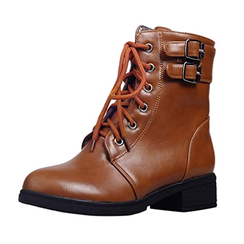 Kauneus Womens Pointed Toe Mid Calf Boot Premium Soft Leather Low Heel Martin Boots Fashion Short Tube Boots