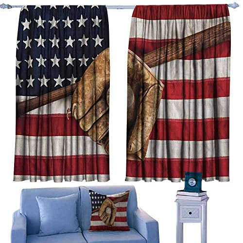 Buy Blackout Curtains 2 Panels 42 W X 45 L Rod Pocket Curtain Panels For Bedroom Kitchen Baseball Vintage Baseball League Equipment Usa Grunge Glove Bat Fielding Sports Theme Brown Red