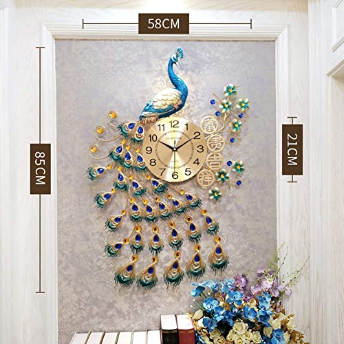 Buy Xiaomei Peacock Wall Clock 3d Crystal Silent Metal Large Quartz Clock Modern Art Decorative For Living Room Office Decor I 85x58cm33x23inch Online In Ethiopia B07kx31543