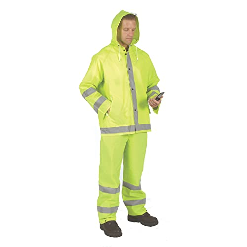 Galeton 7955-XL-GR 7955 Repel Rainwear PVC On Nylon Flexible Rain Suit X-Large Green