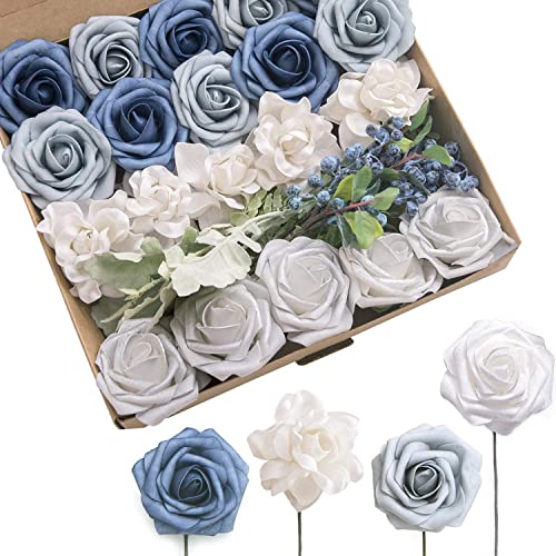 Buy Lings Moment Artificial Flowers Combo With Stem For Diy Wedding Bouquets Flower Arrangements Table Centerpieces Cake Flower Decorations French Dusty Blue Online In Ethiopia B07vv4rz38