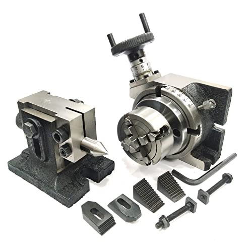 4 TILTING ROTARY TABLE WITH 100 MM 3 JAW SELF CENTERING CHUCK /& BACK PLATE WITH 3 SET X T NUTS 100 MM