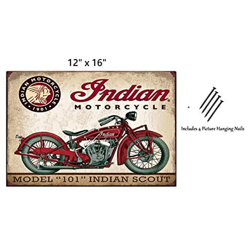 Buy Uniq Designs Vintage Tin Signs Indian Motorcycle Model 101 Indian Scout Vintage Metal Signs Perfect Mancave Garage Signs And Decor Indian Scout Motorcycle Metal Wall Signs 12x16 Online In Ethiopia B07zl3m8b4