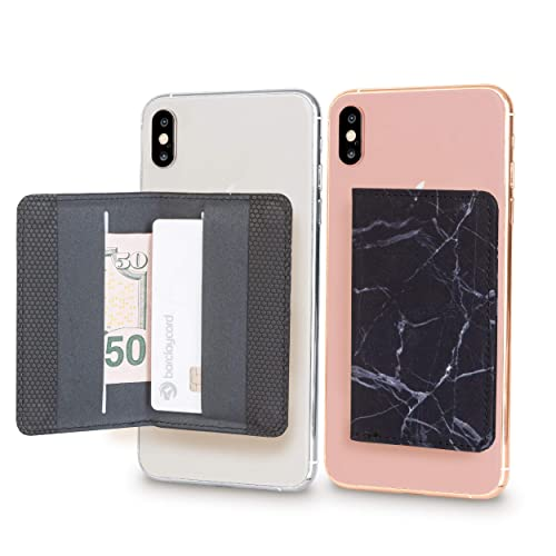 Android and All Smartphones. Finger Ring and Cell Phone Stick on Wallet Card Holder Phone Pocket for iPhone Cardly Pink /& Black Two